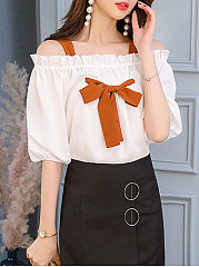 Summer  Polyester  Women  Open Shoulder  Bowknot  Plain  Puff Sleeve  Half Sleeve Blouses