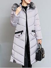 Hooded-Frayed-Trim-Zips-Plaid-Long-Sleeve-Coats