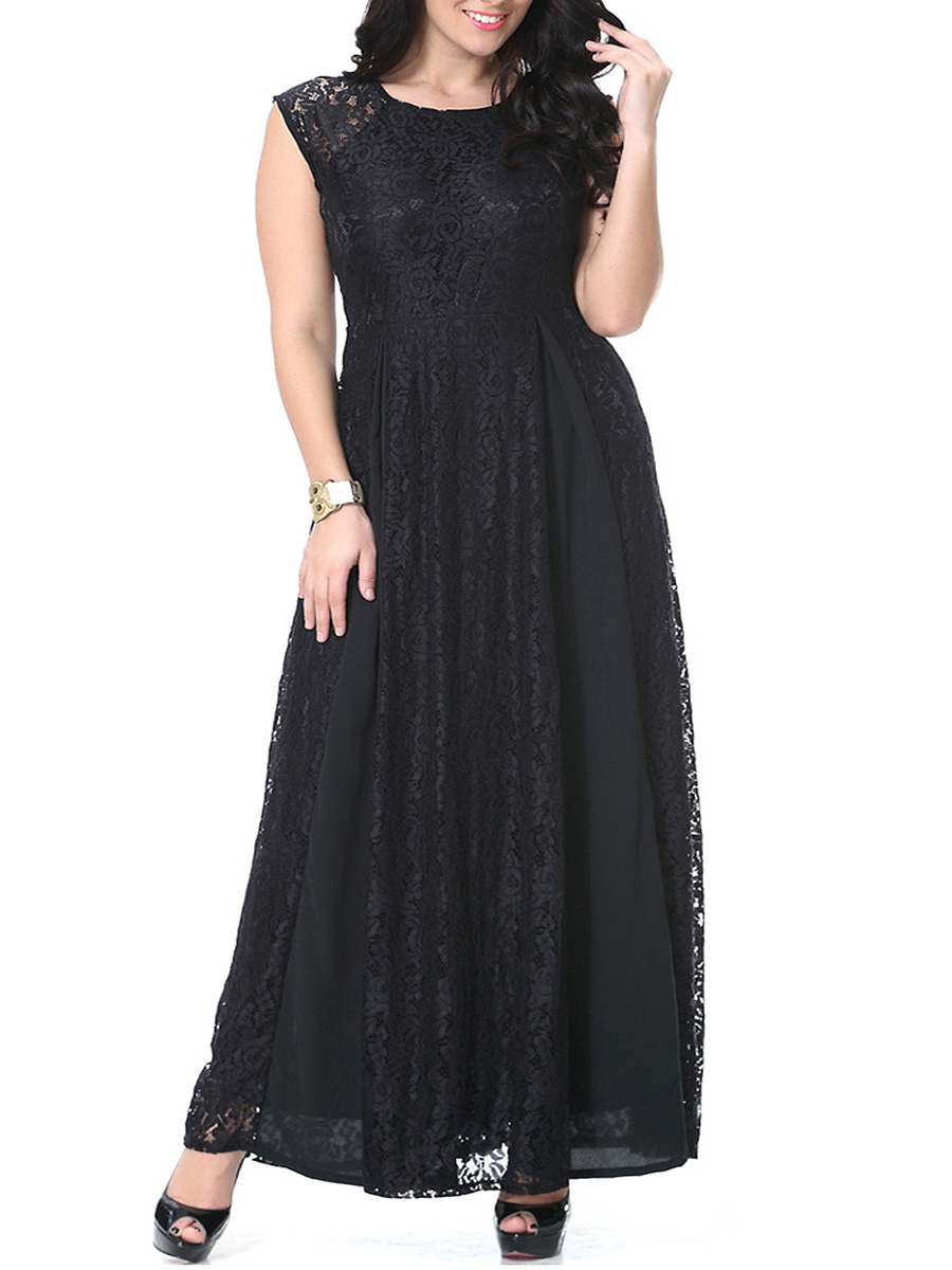 Black Lace Elegant Hollow Out Plain  Round Neck  Plus Size Maxi Dress