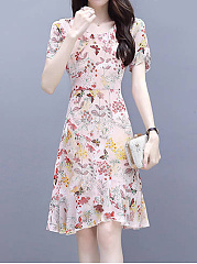 Round Neck Daily Printed Shift Dress