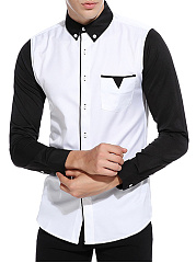 Color Block Button Down Collar Patch Pocket Men Shirts