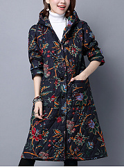 Hooded Patch Pocket Quilted Printed Long Coat