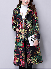 Hooded-Patch-Pocket-Quilted-Printed-Long-Coat