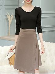 Color-Block-V-Neck-Top-And-Asymmetric-Hem-Midi-Skirt