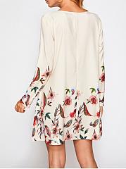 Autumn Winter  Round Neck  Printed Shift Dress