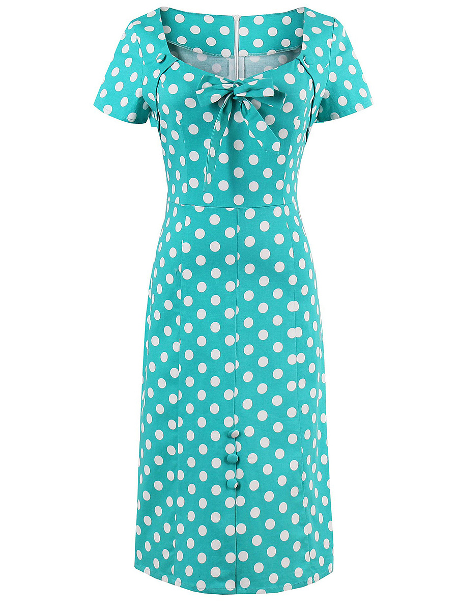 Sweet Heart Polka Dot Bowknot Maxi Dress