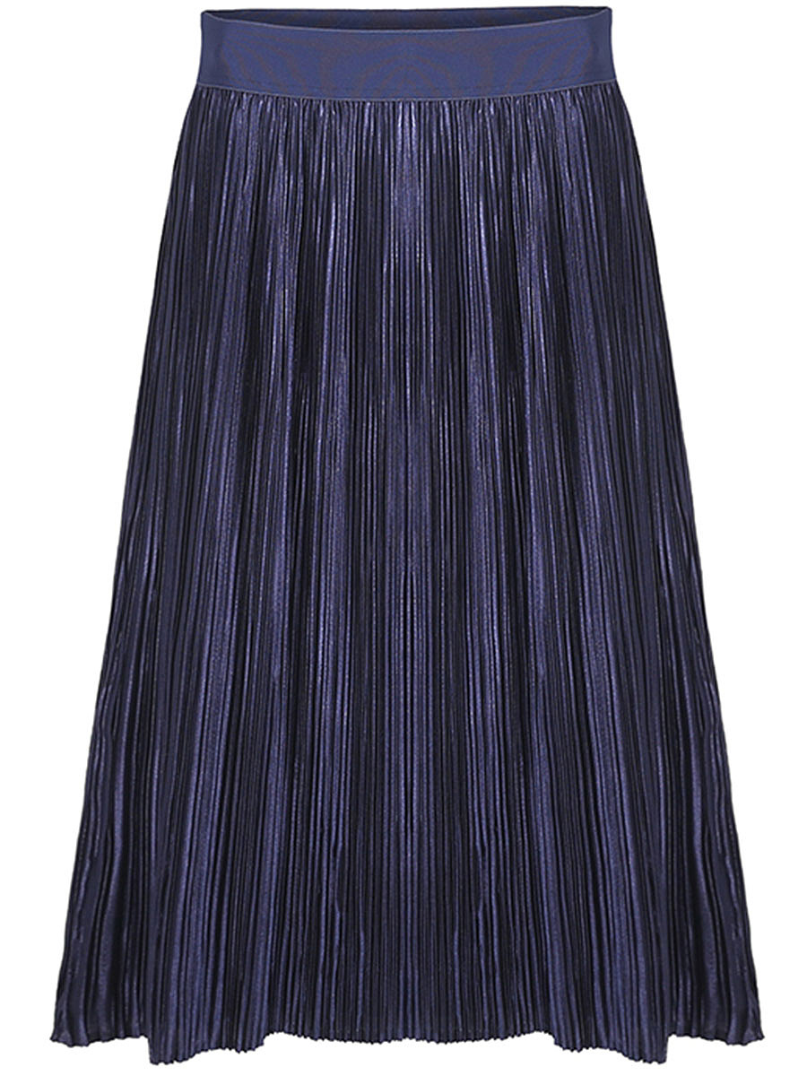 Elastic Waist Plain Pleated Midi Skirt