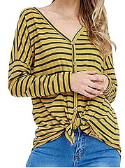 Autumn Spring  Polyester  Women  V-Neck  Striped  Long Sleeve Long Sleeve T-Shirts