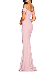 Off Shoulder  Zips  Fishtail Hem  Plain Evening Dress