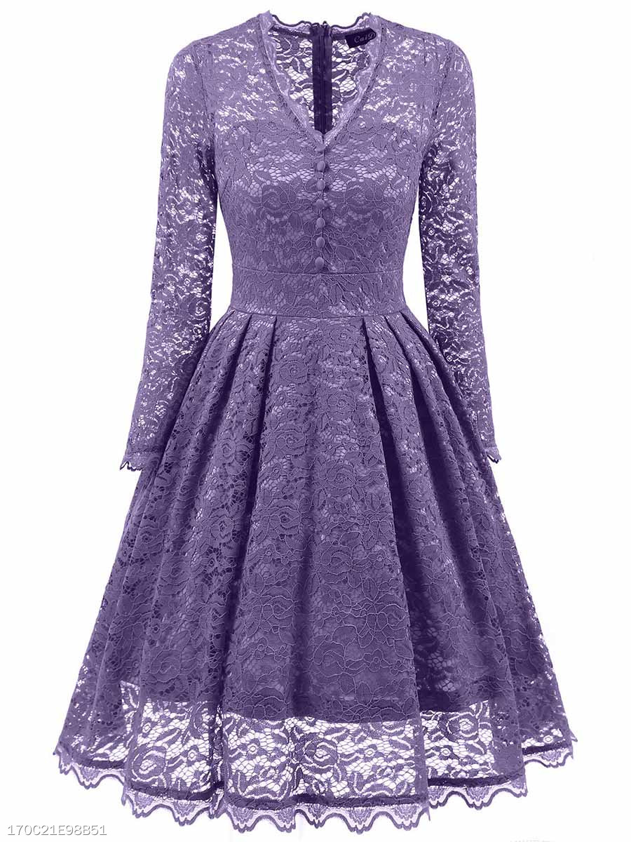 V-Neck See-Through Plain Lace Skater Dress