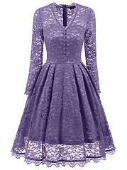 V-Neck-See-Through-Plain-Lace-Skater-Dress