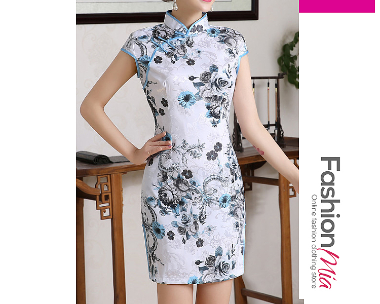 Band Collar  Abstract Print Bodycon Dress