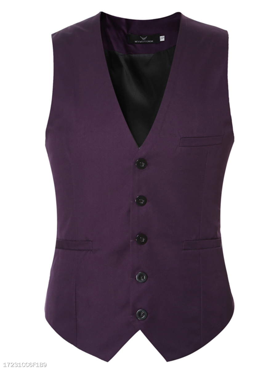 Collarless Plain Men Single Breasted Waistcoat