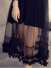 Round Neck  Patchwork See-Through Slit  Applique Lace Plain Skater Dress