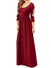 Round Neck  Decorative Lace  Plain Maxi Dress