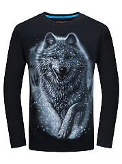 Crew Neck Men 3D Wolf Printed T-Shirt