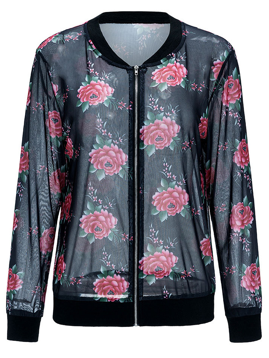 Band Collar See-Through Floral Jacket