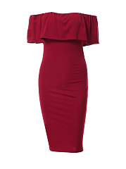 Off-Shoulder-Sexy-Flounce-Plain-Bodycon-Dress