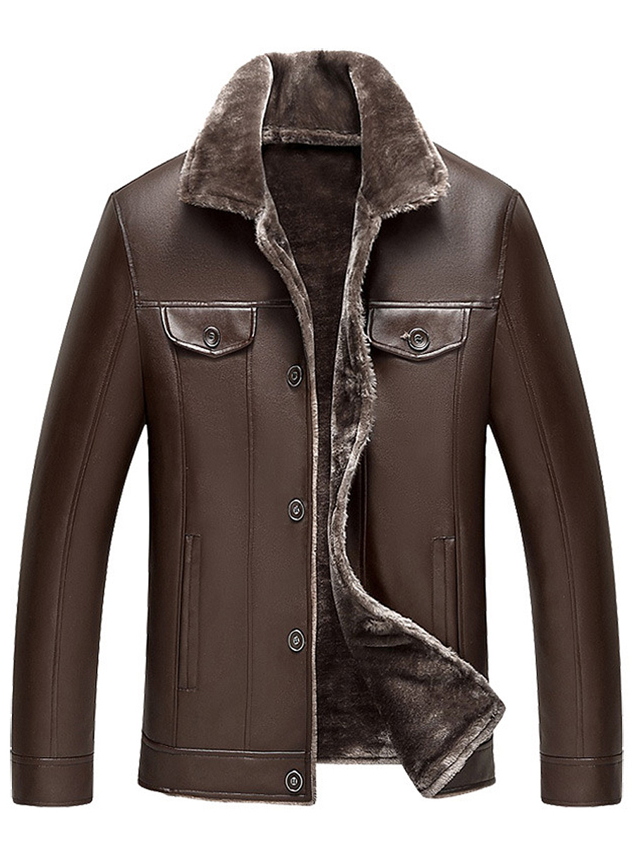 Lapel PU Leather Fleece Lined Pocket Men Coat