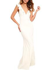 Deep-V-Neck-Flounce-Plain-Empire-Maxi-Dress