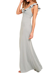 Deep V-Neck Flounce Plain Empire Maxi Dress