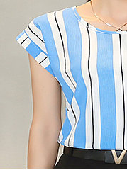 Summer  Chiffon  Women  Round Neck  Striped  Extra Short Blouses