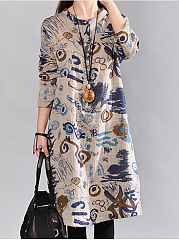 Graffiti-Long-Sleeve-Shift-Dress