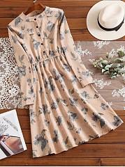 Band-Collar-Floral-Printed-Corduroy-Skater-Dress