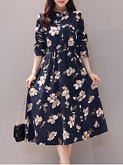 Band Collar  Floral Printed  Corduroy Skater Dress