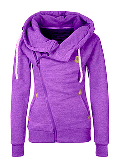 Hooded  Zips  Plain  Long Sleeve Hoodies