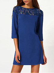 Round Neck  Decorative Lace Daily Plain Shift Dress