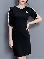 Round-Neck-Beading-Plain-Slit-Bodycon-Dress
