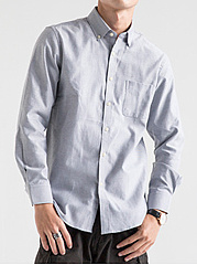 Plain-Patch-Pocket-Button-Down-Collar-Men-Shirts