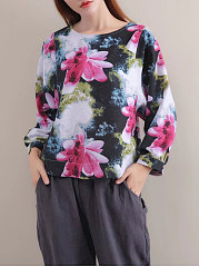 Round-Neck-Printed-Long-Sleeve-Blouses