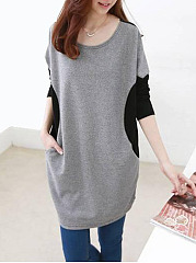 Round-Neck-Patchwork-Color-Block-Polyester-Shift-Dress