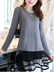 Round-Neck-Patchwork-Rivet-Hollow-Out-Mini-Shift-Dress