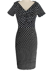 Tie Collar  Polka Dot Bodycon Dress
