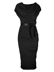 Cowl Neck Ruched Bowknot Solid Bodycon Dress