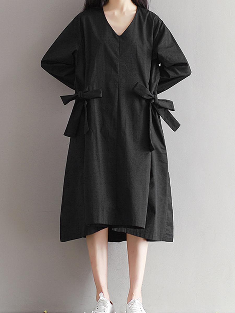 fashion bowknot plain casual autumn shift V-Neck  Bowknot  Plain Shift Dress