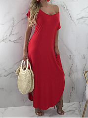 V-Neck  Side Slit  Plain Maxi Dress