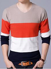 V-Neck-Color-Block-Men-Sweater