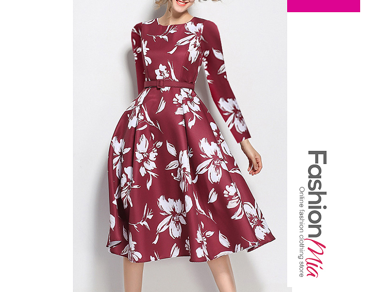 thickness:regular, brand_name:fashionmia, style:elegant*fashion*vintage*western, material:polyester, collar&neckline:round neck, sleeve:long sleeve, pattern_type:floral*printed, length:knee-length, how_to_wash:cold  hand wash, supplementary_matters:all dimensions are measured manually with a deviation of 2 to 4cm.,belt is excluded., occasion:date*event*party*semi-formal*vacation, season:autumn*spring*winter, dress_silhouette:flared, package_included:dress*1, length:90,bust:88,