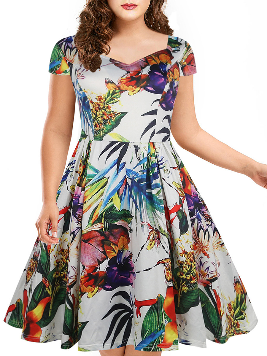 Tropical Multi-Color Printed Sweet Heart Skater Dress
