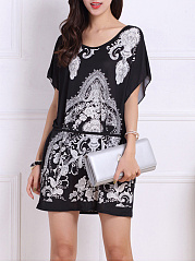 Round-Neck-Tribal-Printed-Mini-Shift-Dress