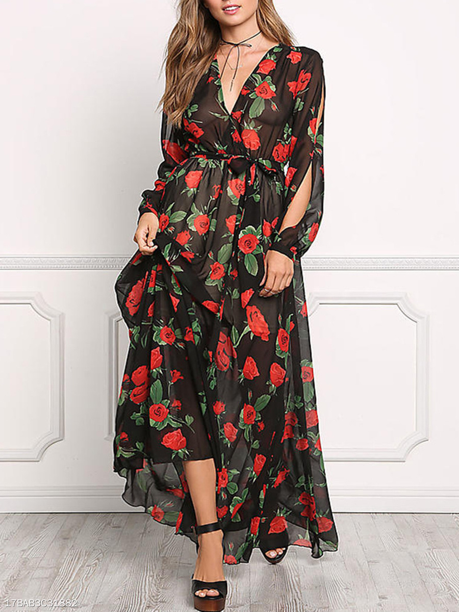 V-Neck  Elastic Waist  Belt Date  Printed Maxi Dress