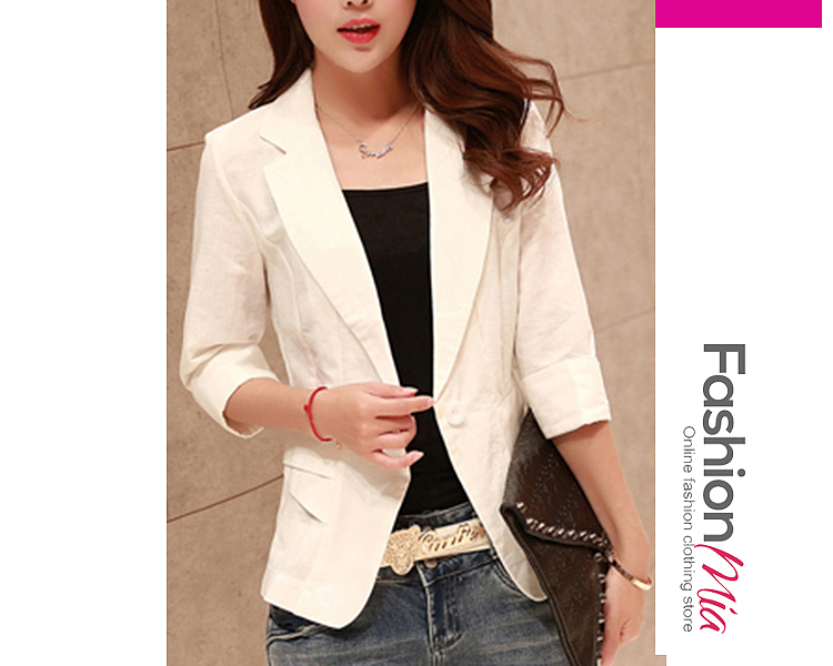 material:cotton/linen, collar&neckline:notch lapel, sleeve_type:cuffed sleeve, sleeve:three-quarter sleeve, more_details:single button, pattern_type:plain, occasion:office, season:autumn*spring, package_included:top*1, length:55,shoulder:37,sleeve length:39,bust:88,waist:76,