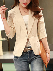 Notch Lapel Single Button Plain Cuffed Sleeve Blazer