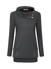 Cowl Neck  Decorative Button  Plain  Long Sleeve Sweatshirts