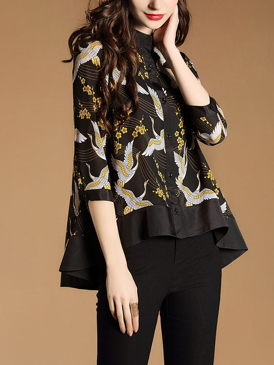 Crew Neck  Patchwork  Printed Shirt