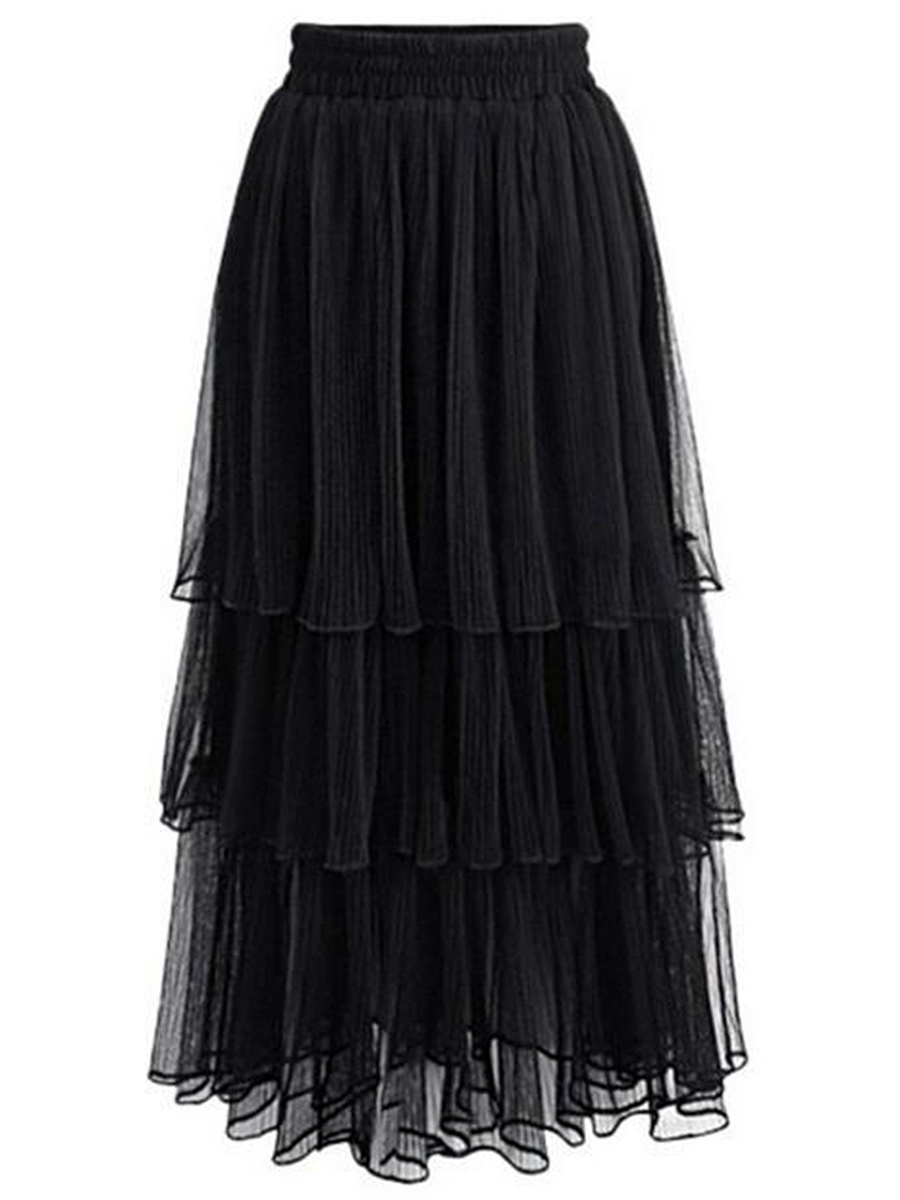 Elastic Waist Plain Layered Maxi Skirt